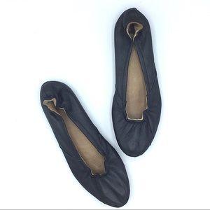 Sorel Black Leather Ballet Flats Size 6 Round Toe